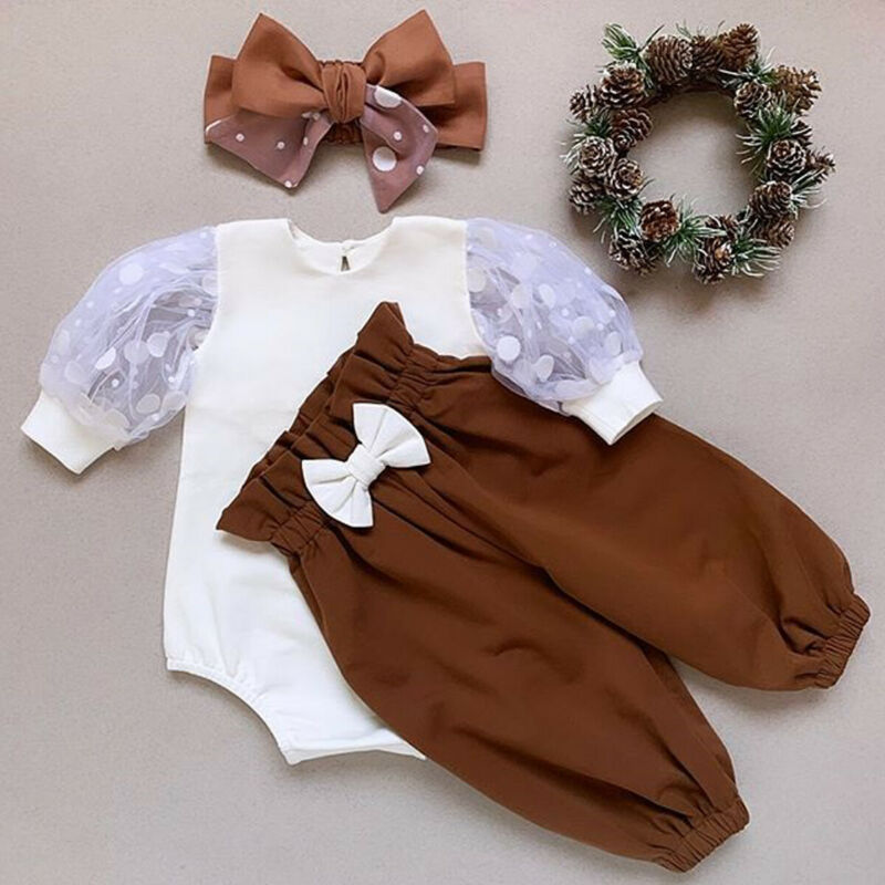 Newborn Baby Girl Two Pieces Set Infant Girl Long Sleeve Top Pant Headband Clothing Sets