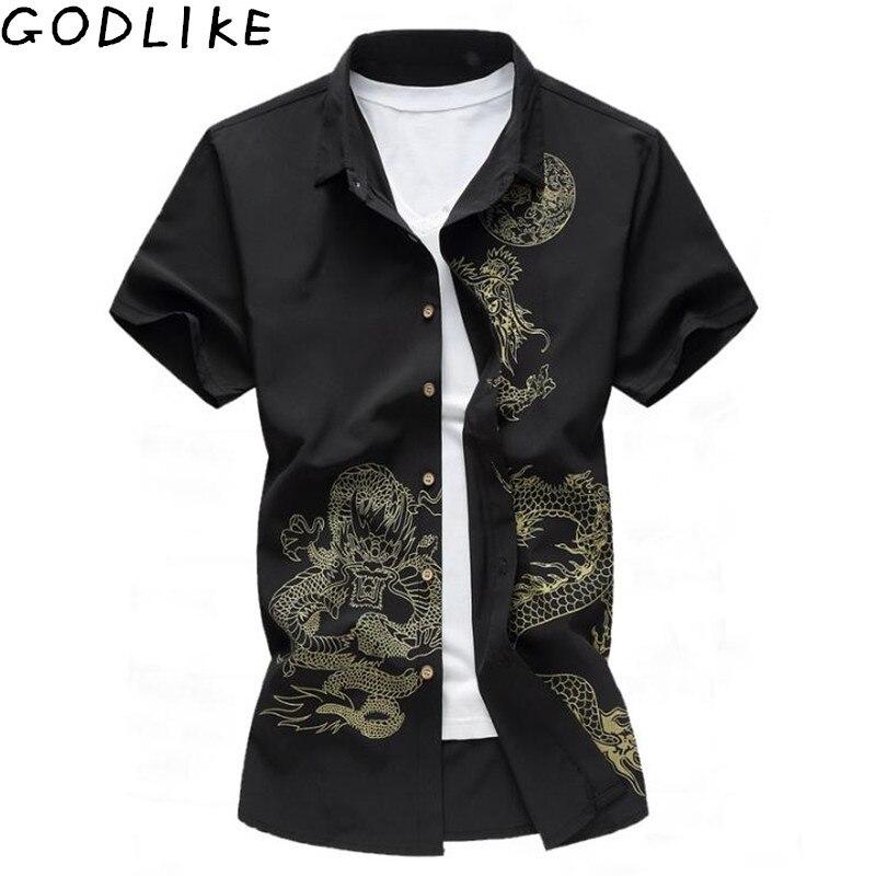 2019 Summer Chinese Style Shirt Dragon Print Fashion Brand Mens Shirt Business Casual Short Sleeve Shirt Slim Soft Shirt 7XL 6XL