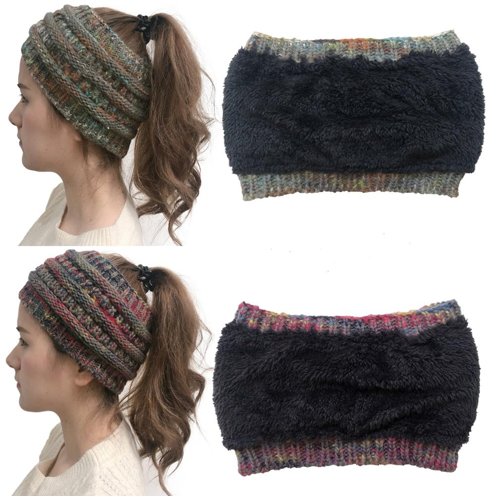 Women's Girls Stretch Knitted Wool Crochet Hats Caps Messy Bun Ponytail   Beanie   Holey Warm Hat Winter Warm Cap   Beanies