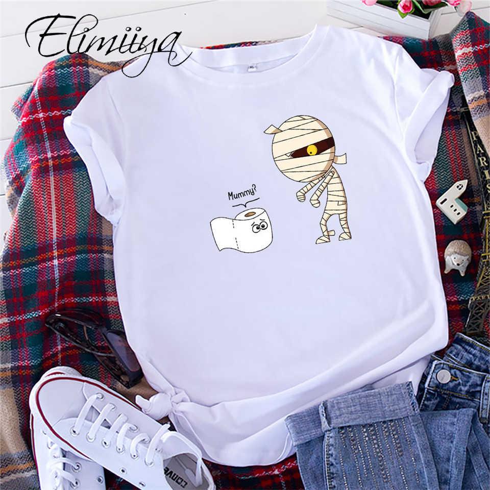 Elimiiya S-5XL Zomer T Shirt Vrouwen Korte Mouw O-hals Grappige Mummy Print Tshirt Vrouwelijke T-shirts Grappige Clother Tops Vrouwen 2020