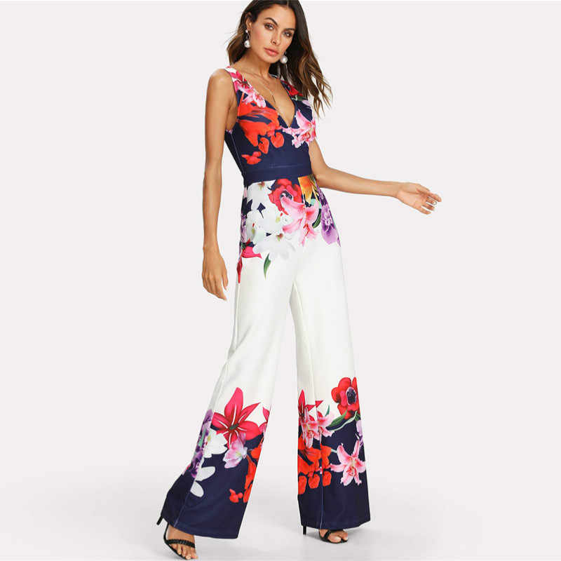 Fashion Hot Women Floral Clubwear Off Shoulder Print Deep V-Neck Summer Playsuit Jumpsuit Romper Trousers Casual Party Dressy