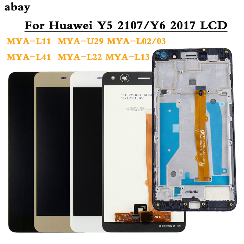 LCD Display For Huawei Nova Young 4G LTE / Y6 2017 / Y5 2017 MYA-L11 L41 U29 MYA L22 L41 LCD Display Touch Screen Frame Replace