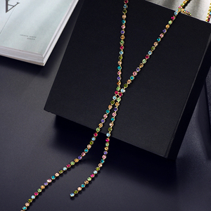 Image 3 - Neoglory Austrain Crystal Colorful Long Chain Beads Tassel Necklaces for Women Girl Fashion Jewelry Gifts 2020 Colf