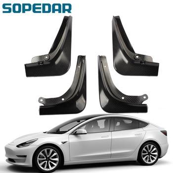 Guardabarros de carbono SOPEDAR 3k para modelo Tesla 3, 2016, 2017, 2018, 2019 y 2020, guardabarros delanteros y traseros para coche, protector contra salpicaduras de nieve
