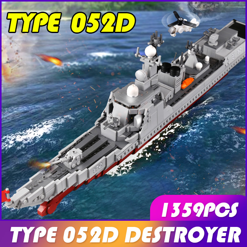 1359 pièces armée militaire le destructeur de missiles bataille guerre mondiale navire blocs de construction briques armes navire de guerre enfants jouets cadeau