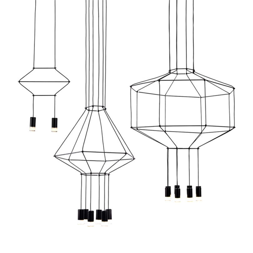 Nordic Design Line LED Pendant Lights Geometric Line Hanging Lamp DIY Led Lustres Pendant Lamp For Living Room Shop Hotel