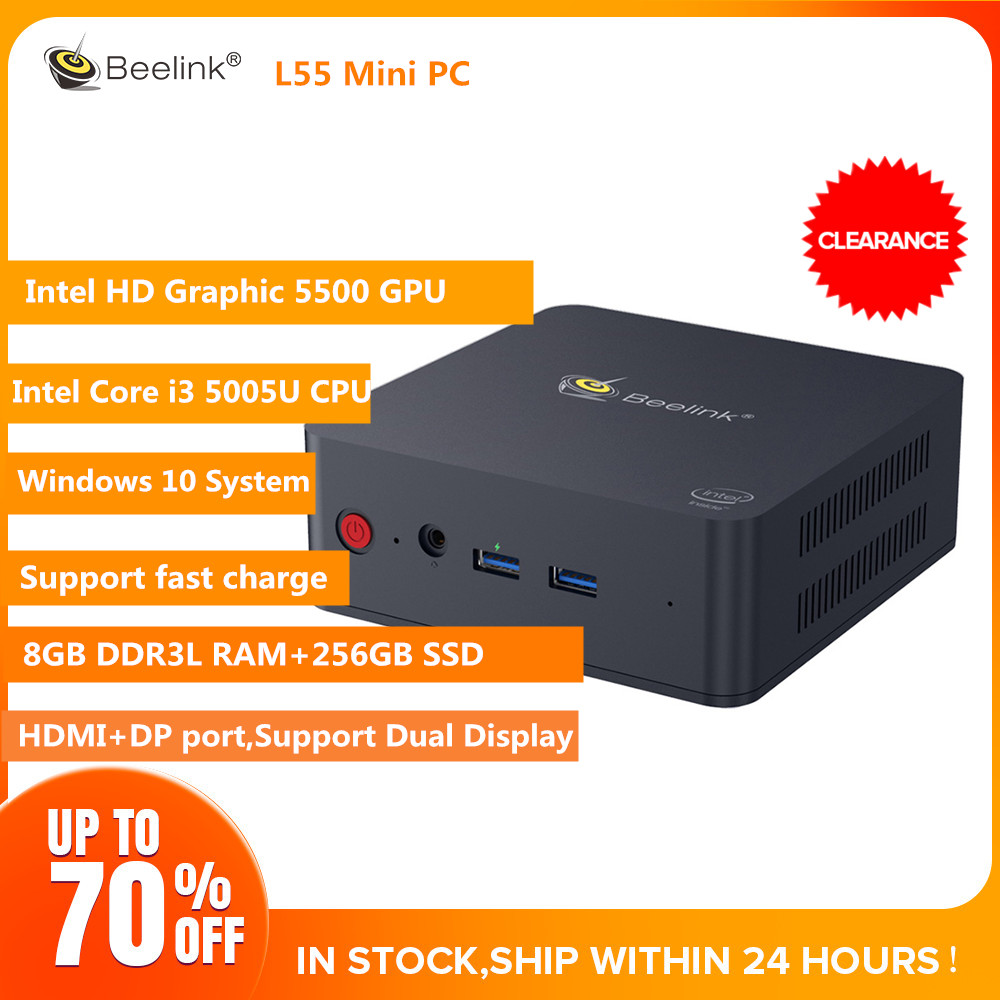 Beelink L55 I3 5005U Mini PC 8GB DDR3L 256GB Win10 PC Support Dual Display HDMI+DP Fast Charge USB3.0 Dual WiFi BT4.0 PC