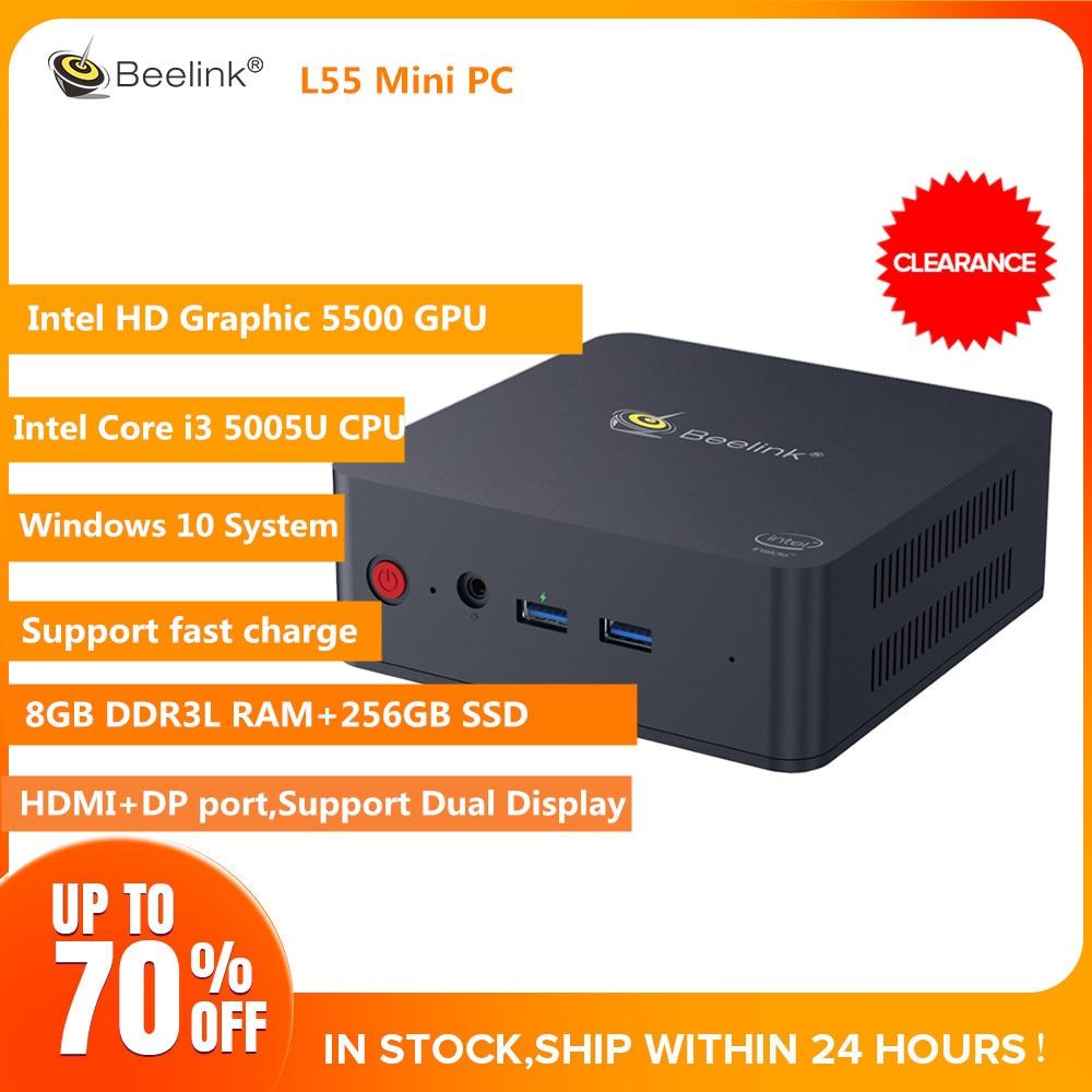 Beelink L55 I3 5005U Mini PC 8GB DDR3L 256GB Win10 PC Support Dual Display HDMI+DP Fast Charge USB3.0 Dual WiFi BT4.0 PC