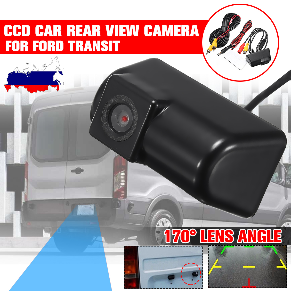 Waterproof Rear View Camera Night Vision 170° CCD Car Reversing Camera Kits For Ford Transit Connect Auto Parking Accessories
