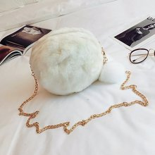 2020 Korean-style New Style Faux Leather cao mao Furry Ball Bag Trend of Fashion Shoulder Cross-body WOMEN'S