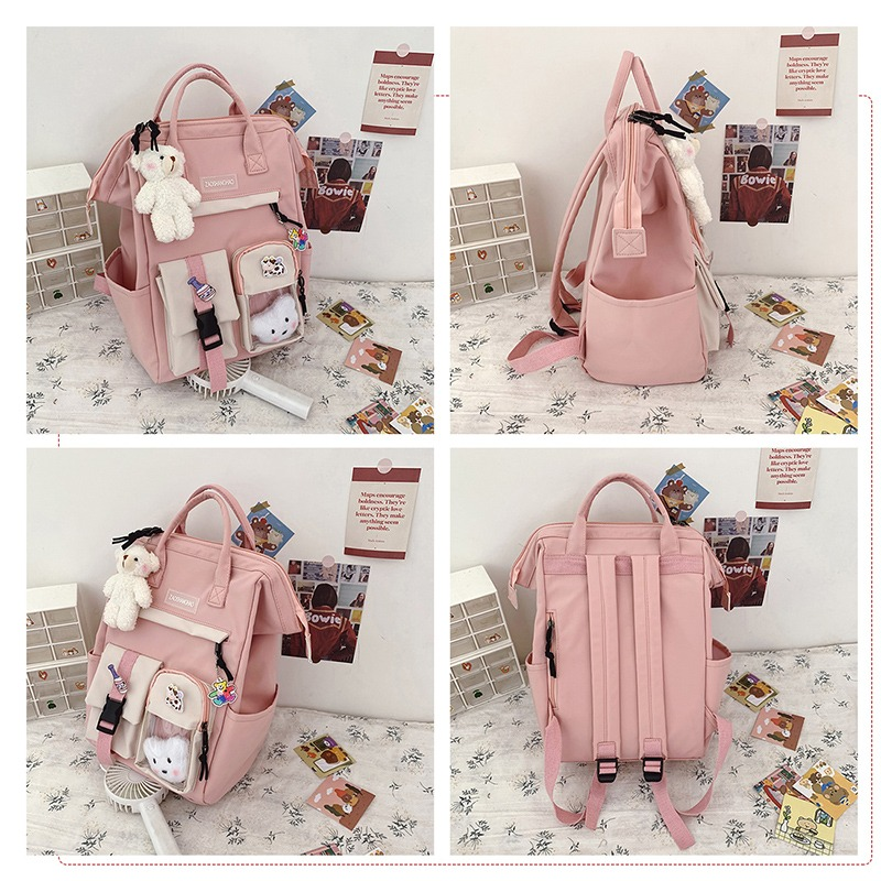 VIP Dropshipping 2021 School Bag Backpack For Teenagers Candy Color Waterproof Bags Patchwork Backpack Female Rucksack Mochila