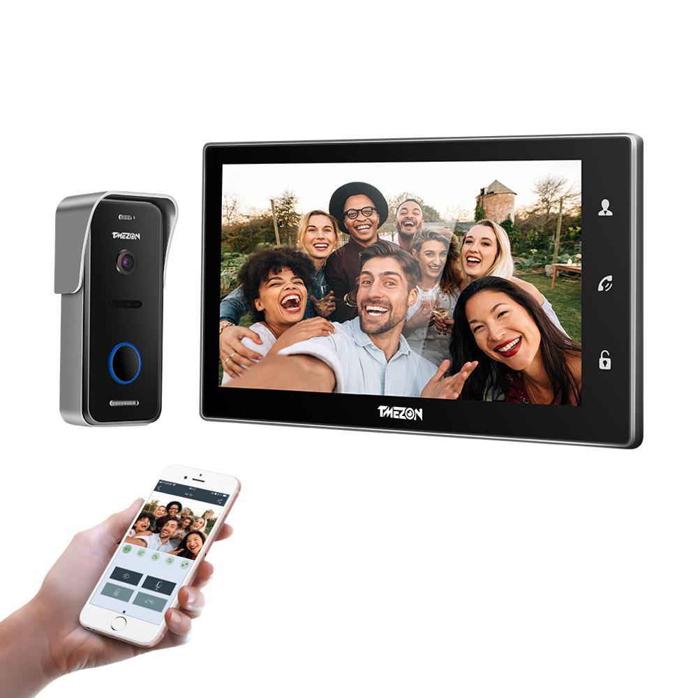 Tmezon 10 Inch Draadloze Wifi Smart Ip Video Deurbel Intercom Systeem, 1 Xtouch Screen Monitor Met 1X720 P Wired Deurtelefoon Camera