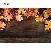 Laeacco Dark Wooden Board Autumn Maples Leave Bulb Light Doll Child Portrait Photo Background Photography Backdrop Studio