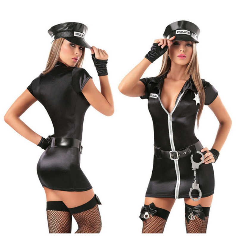 Women Sexy Police Costume Halloween Female Cop Police Officer Policewoman Uniform Outfit Cosplay Costume image