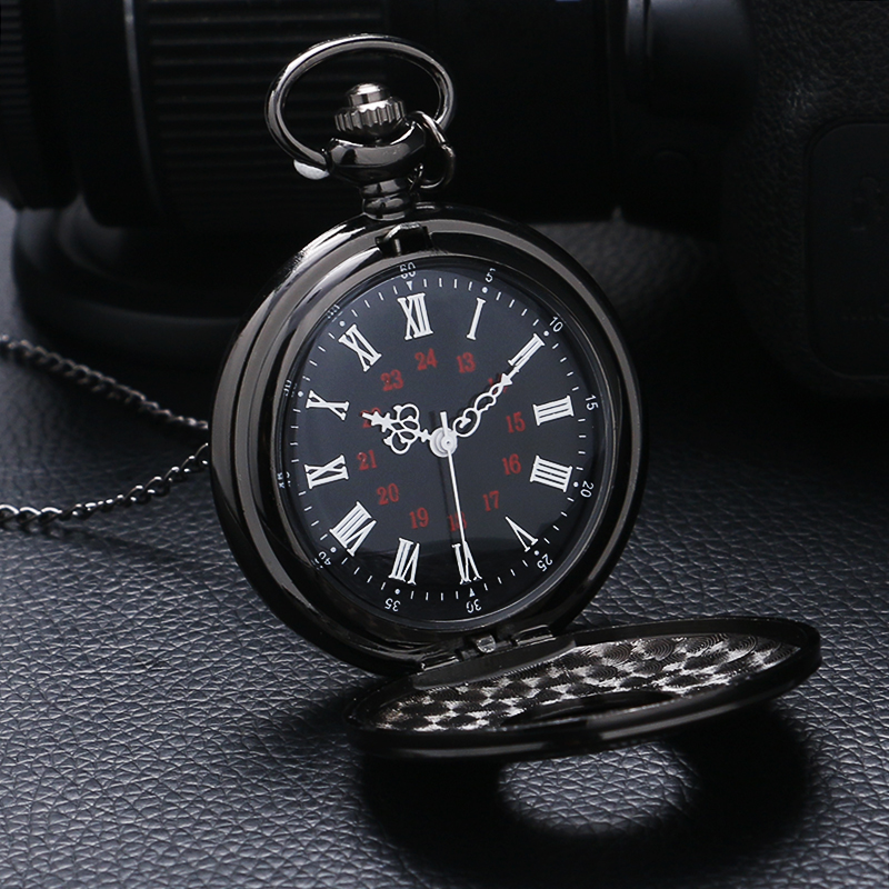 Classic Pocket Watch Vintage Necklace Pendant With Chain Solemn Style Quartz Reloj De Bolsillo Stainless Steel Watches Men