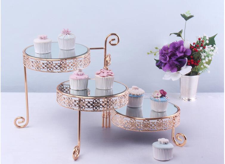 Mode 3 couches plié miroir gâteau stand verre miroir trys plateaux décoratifs gâteau décoration outils pour décoration de mariage DGJ052