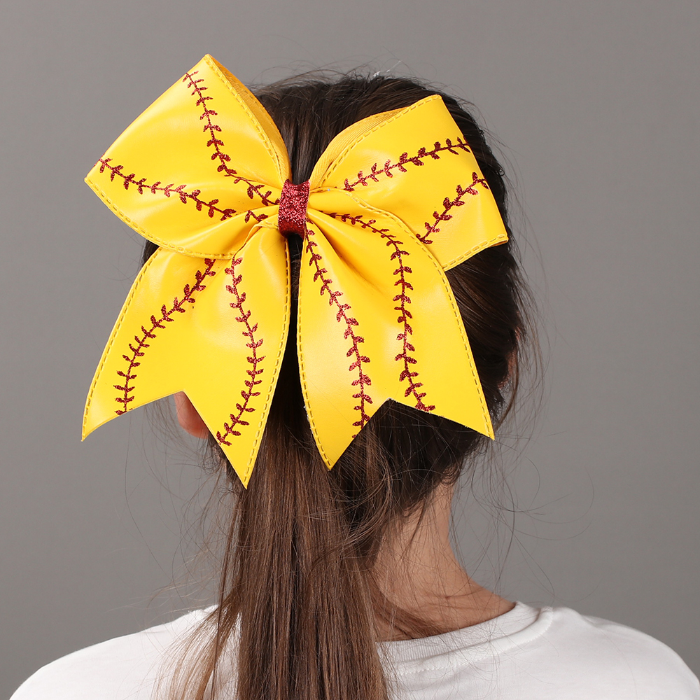 "Image 5 - 7"" Baseball Leather Cheer Bow With Rubber Band For Girls Kids Handmade Softball Glitter Cheerleading Bow Hair Accessories 10 Pcscheer bowshair tiesbow hair tie -"