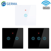 GERMA Smart Home Wireless Touch Switch Led Light Lamp 433MHZ Remote Control Glass Screen Wall Panel Button 1 2 3 Gang On Off