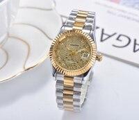 Reloj de acero inoxidable con diamantes para mujer, cronógrafo de cuarzo negro, azul y dorado