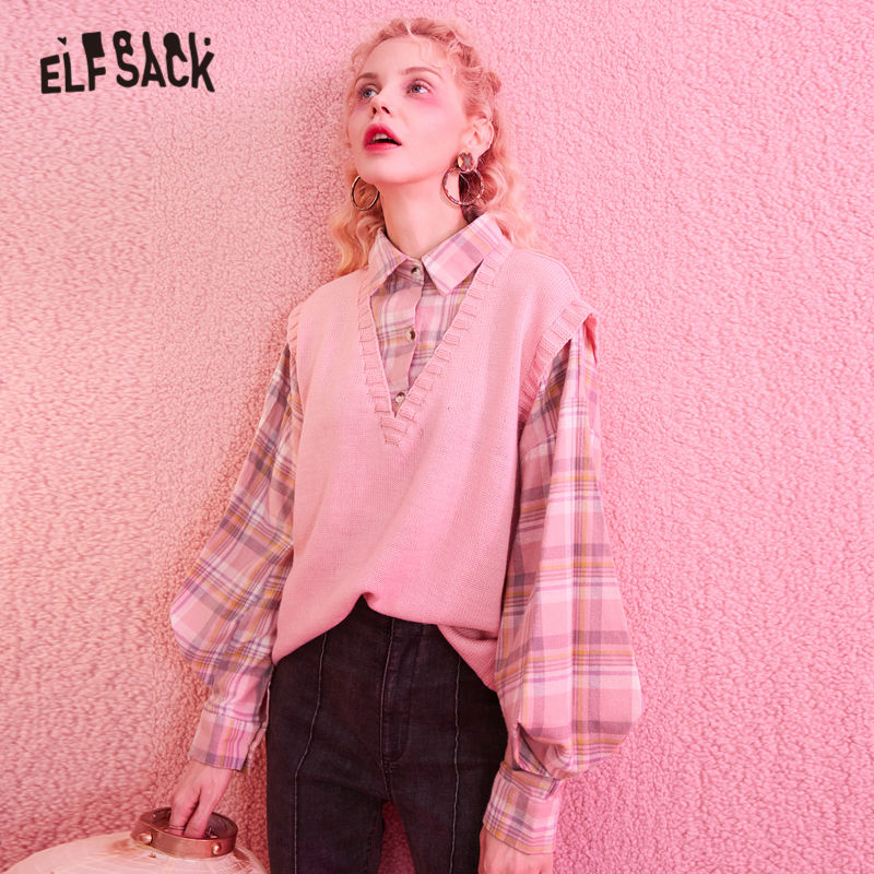 ELFSACK Pink Plaid Korean Style Knit Fake Two Pieces Sweater Women 2020 New Preppy Long Lantern Sleeve Office Ladies Daily Tops