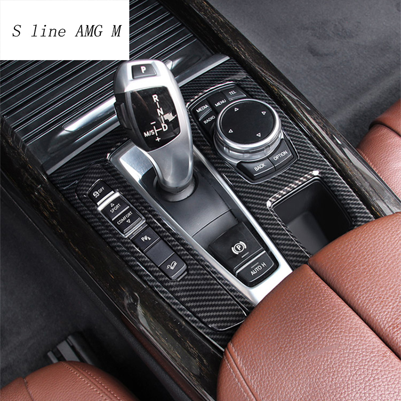 Car Styling Carbon fiber Interior for BMW X5 X6 F15 F16 Central control Gear Shift Panel Gears Handrest Water cup Cover Stickers Automotive Interior Stickers     - title=