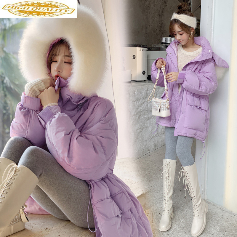 2020 White Duck Down Jacket Women Winter Coat Korean Real Fox Fur Collar Overcoat Puffer Jacket Kurtka Damska KJ3480