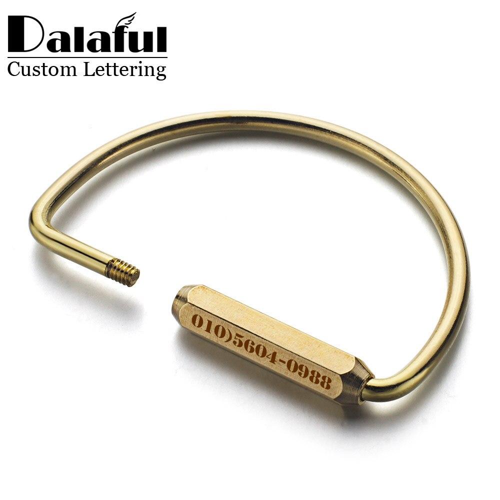 Dalaful Custom Lettering Keychains Unisex Pure Handmade Copper Keyrings Simple Brass Car Key Chain Ring Holder Men Women K353