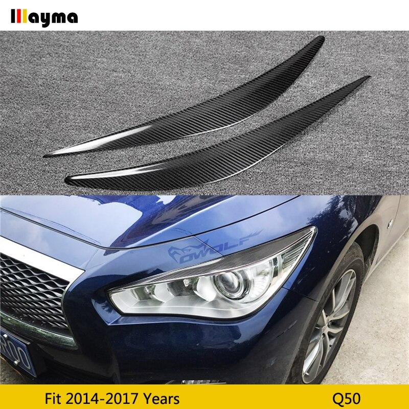 Передние фары из углеродного волокна для Infiniti Q50 3.7L 3.5L 2014 - 2017 Q50, декоративный чехол для передней фары, наклейка для бровей 2 шт./компл.