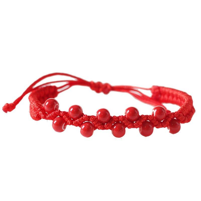 Оптовая продажа, корейский стиль, ювелирные изделия, новые керамические бусины, красный браслет на веревке для женщин и девушек, подарки, ми...