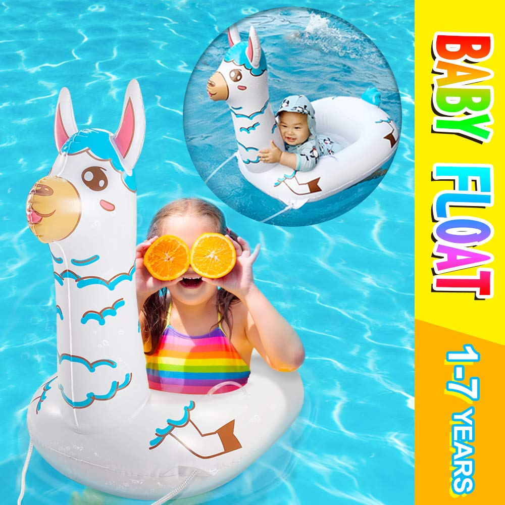 Baby Pool Float Inflatable Swimming Floats Alpaca Swim Ring For Kids Toddler Safety Baby Seat Infant Llama Gifts For Girls Boys