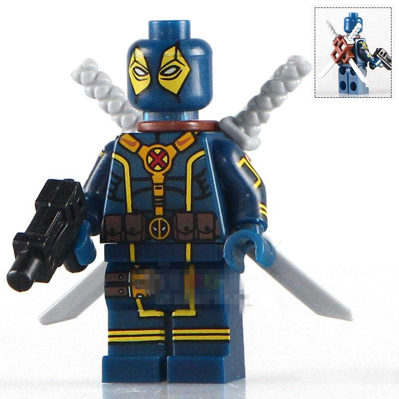 Singola Vendita Blu Deadpool Lupo Spider-Man Marvel SUPER HEROES Modello Minifig Assemblare Modello FAI DA TE Blocchi di Costruzione Per Bambini Giocattoli