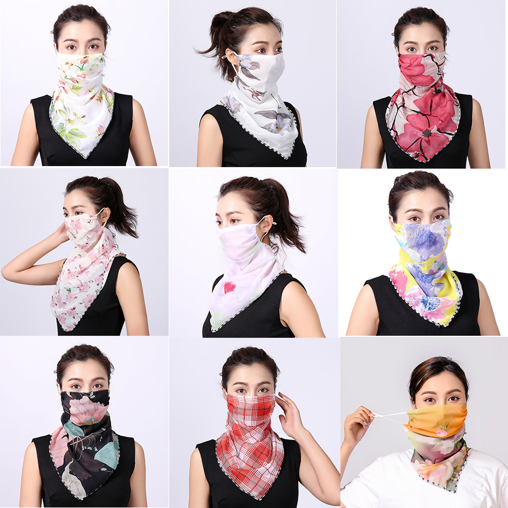 2020 Hot Sell Face Mask Lightweight Mouth Mask Scarf Sun Protection Mask Outdoor Riding Masks Protective Silk Scarf Handkerchief
