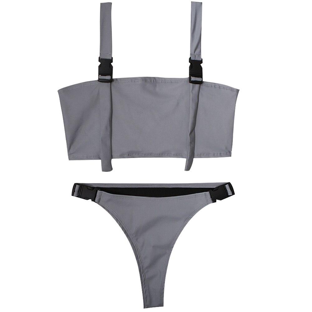 Reflective Outfits Sexy Split Buckle Beach Shorts Summer Women Swimwear Two Piece Flash Fashion Stitching Bodycon Crop Tops