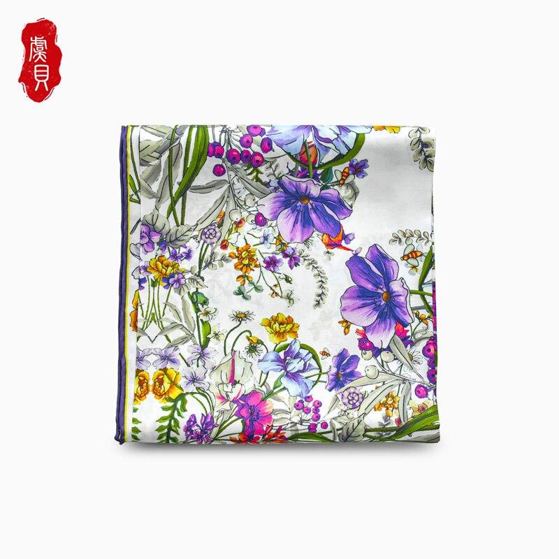 Black real silk twill scarf printed with flowers head scarfs women elegant soft white square bandana shawl luxury gift for lady