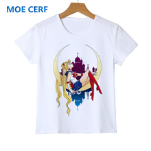 Забавная детская летняя футболка с изображением Сейлор Мун футболка с милым котом детские модные футболки с 3D рисунком Kawai, Y28-3