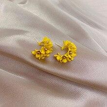 Red Flower Stud Earrings design petal earrings 2020 New temperament Super fairy  earring women all-match