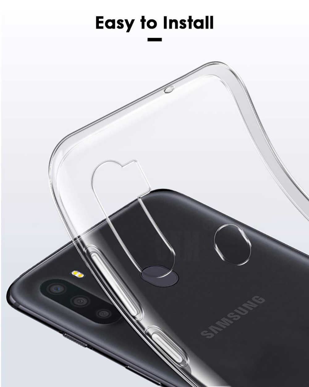 Untuk Samsung Galaxy A21 A21S Slim Crystal Clear Transparan Lembut TPU Kembali Case Perlindungan Kulit Kamera Melindungi Cover