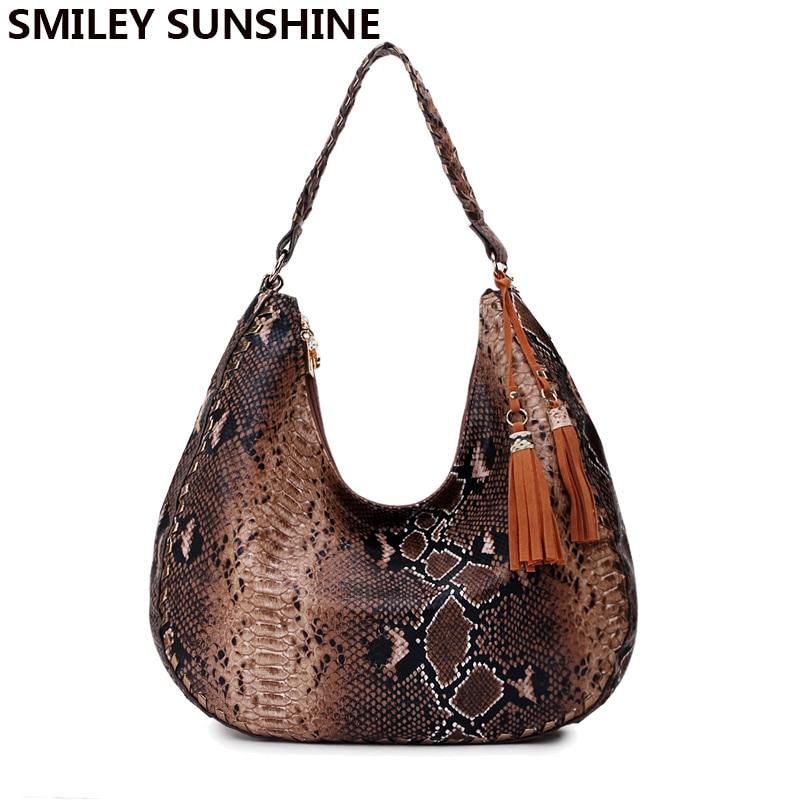Femininos do Vintage Bolsa de Ombro Feminina e Bolsas de Mão Smiley Sunshine Snake Print Grandes Bolsas Grande Hobo Marrom Senhoras 2020