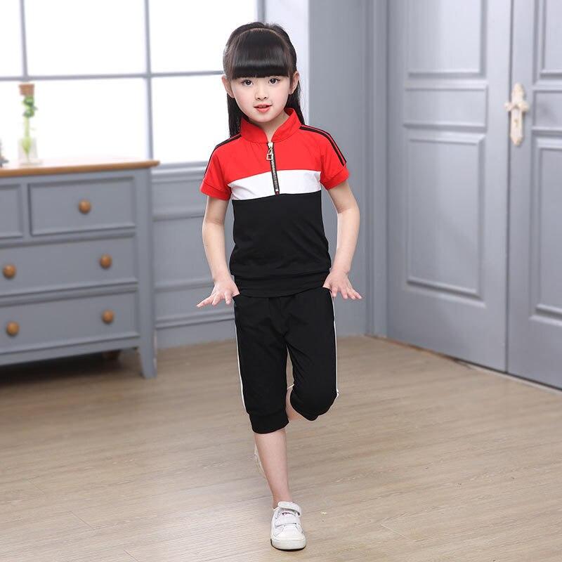 Childrenswear School Uniform Set Young STUDENT'S Summer Business Attire Sports Short Sleeve Children Kindergarten Suit Summer We