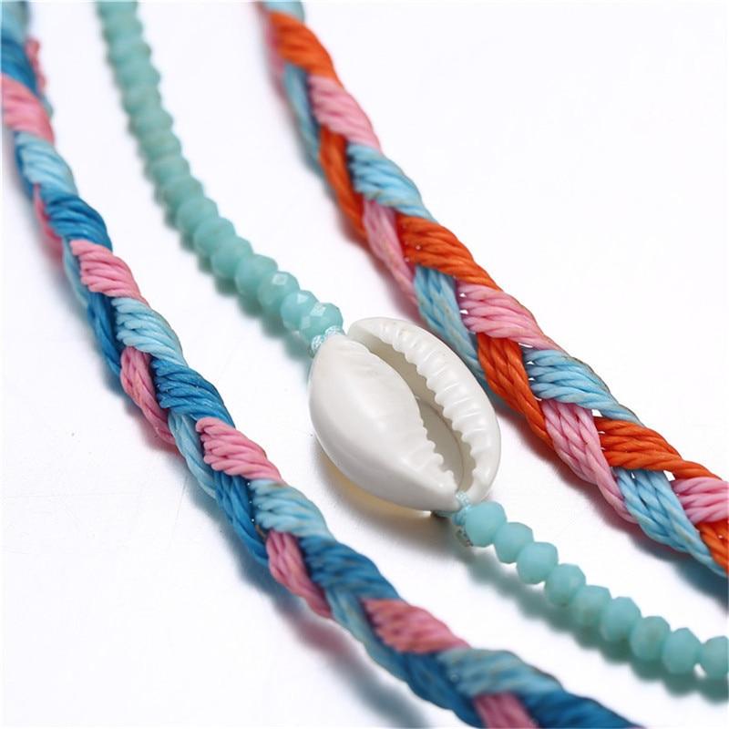 3Pcs Bohemian Natural Shell Hand Knit Bracelet for Women Macrame Bracelet Set Beach Jewelry Bracelets for Women Beach Jewelry in Charm Bracelets from Jewelry Accessories