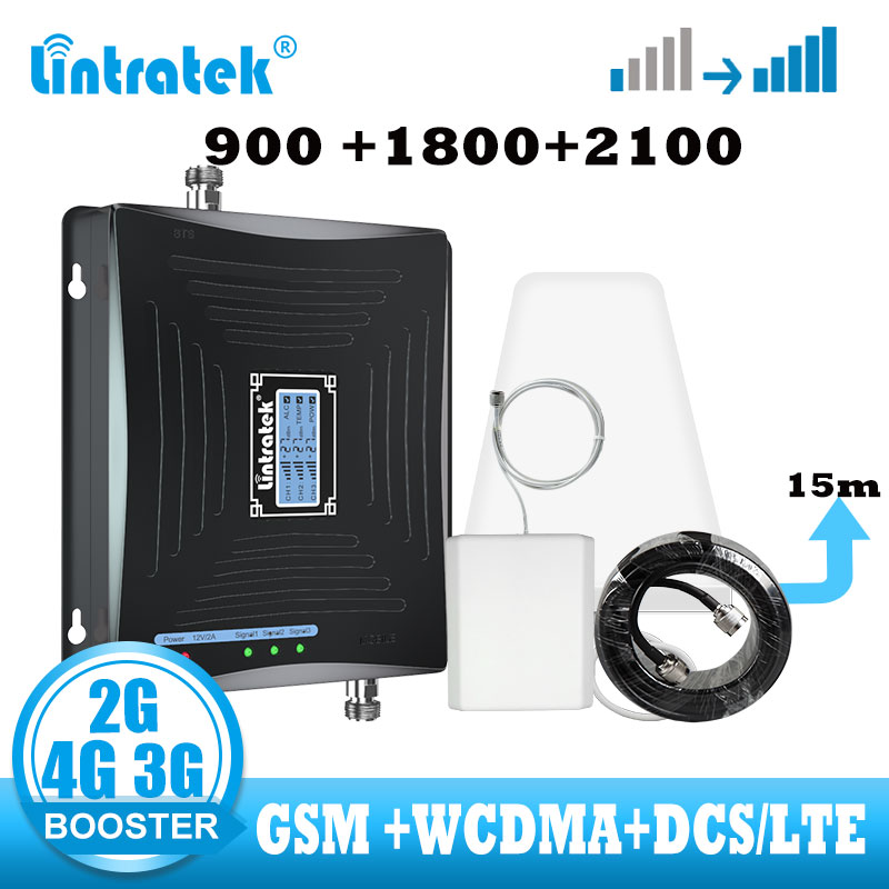 Lintratek 2G 3G 4G Signal Booster GSM WCDMA LTE 4G Cellular Signal Amplifier 2g 3g 900 1800 2100 Internet  Mobile Phone Repeater