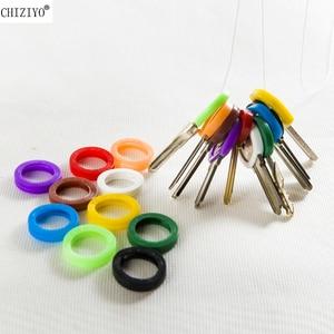 Image 1 - CHIZIYO Neueste 10 stücke Helle Farben Hohl Silikon Schlüssel Kappe Deckt Topper Schlüsselring Schlüssel Ringe Auto Haus Schlüssel Fall