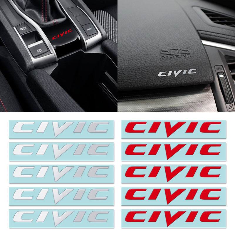 Car Styling 10pcs ClVlC Nickel Chrome Auto Car  Letter Logo Badge Emblem Decal For Honda Auto Accessories Interior Stickers