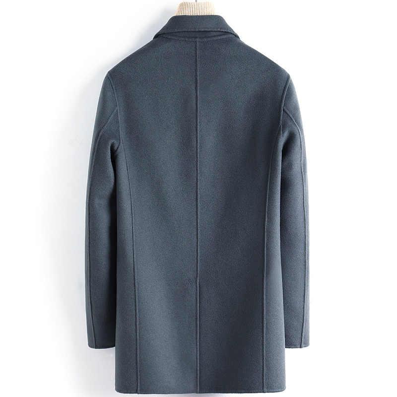 Wool Coat Men Casual Double-sided Korean Long Jacket Mens Coats and Jackets Overcoat Abrigo Hombre 2020 4887 KJ3621