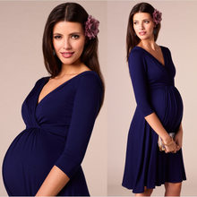 Sukienki dla kobiet sukienki w ciąży macierzyński dekolt w serek trzy czwarte rękaw plisowane piękne ubrania ciąża Party suknia wieczorowa