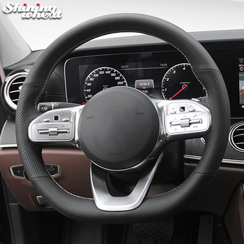 Hand Sew Black Genuine Leather Car Steering Wheel Cover for Mercedes-Benz A-Class W177 C-Class W205 E-Class W213 S-Class W222