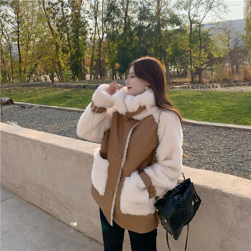 H28a41e1c92814f64942fd7ce1afdb162f Winter Women High Quality Fur Coat Loose Collar Design Integrated Long Splicing Single-breasted Cotton-padded Pocket Jackets