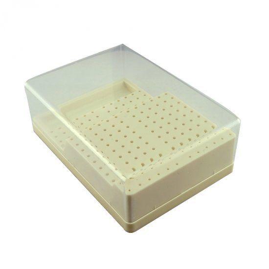 Dental RA - FG Bur Block Holder Station With Lid Plastic Holds 168 Hole Burs Holder