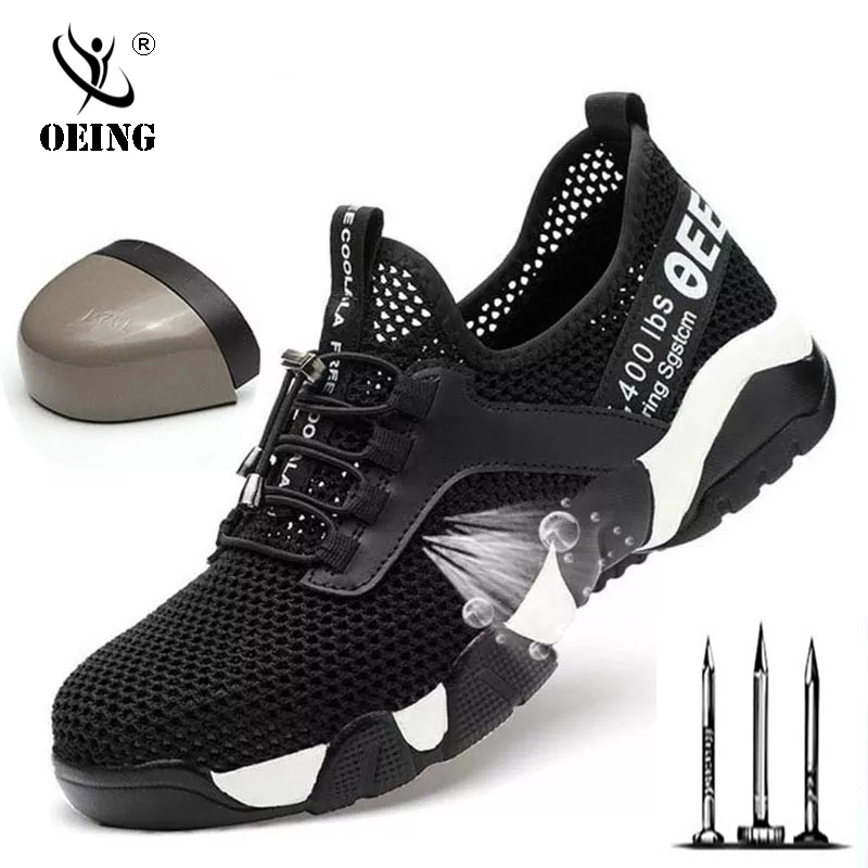 New Men Steel Toe Work Safety Shoes Lightweight Breathable Reflective Casual Sneaker Prevent Piercing Women Protective Boots