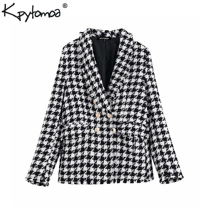 Vintage Stylish Houndstooth Double Breasted Blazer Coat Women 2020 Fashion Long Sleeve Frayed Trims Outerwear Chic Plaid Tops